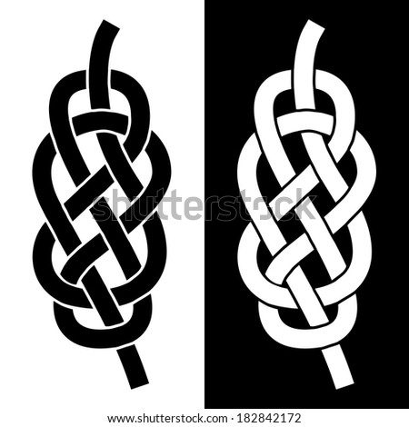 Knot on the rope symbol, silhouette illustration - stock vector