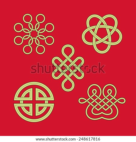 Knot Patterns Collection,design elements.Outline,midline,fill color are separate.