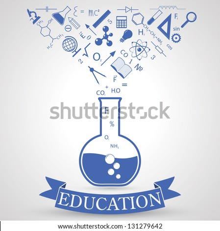 knowledge from tube. concept of learning. vector. eps10 - stock vector