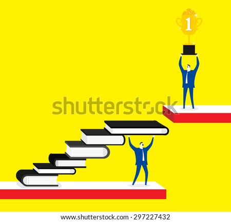 Knowledge is a shortcut for success, businessmen, books, trophy - stock vector