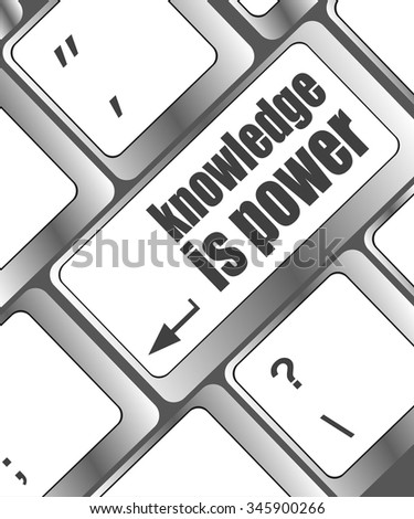 knowledge is power button on computer keyboard key vector illustration