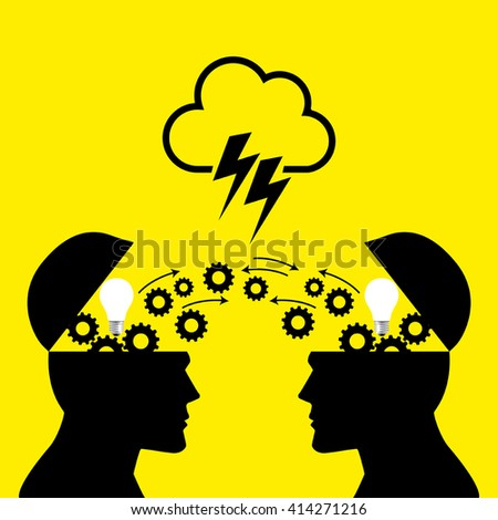 Knowledge or ideas sharing between two people head, transferring knowledge, innovation, brain storming concept - stock vector