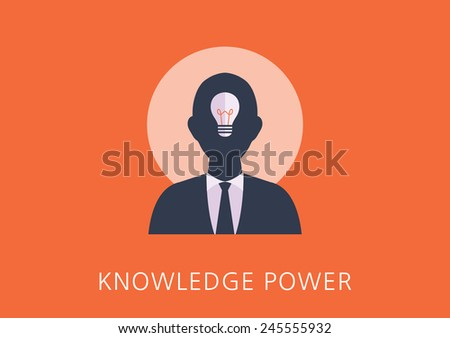 knowledge power concept flat icon - stock vector