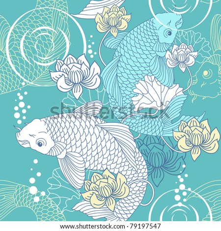 Koi carp seamless pattern - stock vector