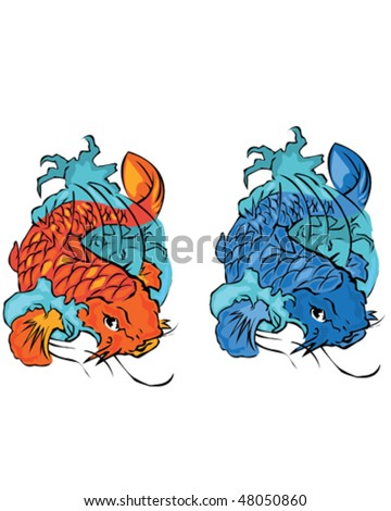 Koi tattoo design stock images royalty free images for Koi fish vector