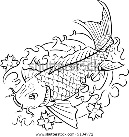 Koi fish in traditional Japanese ink style. - stock vector