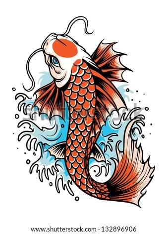 koi fish tattoo - stock vector