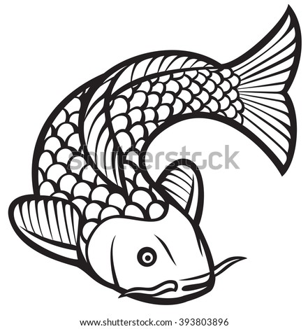 koi fish (vector illustration of a japanese or chinese inspired koi carp fish) - stock vector