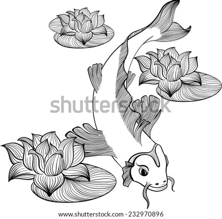 Koi fish with three flowers of lotus created in Line Art - stock vector