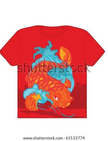 Koi T-Shirt - stock vector