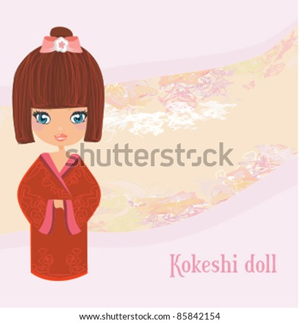 Kokeshi doll on the pink background with floral ornament - stock vector