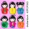 Kokeshi doll stickers in various designs on pink background. EPS10 in vector format. - stock photo
