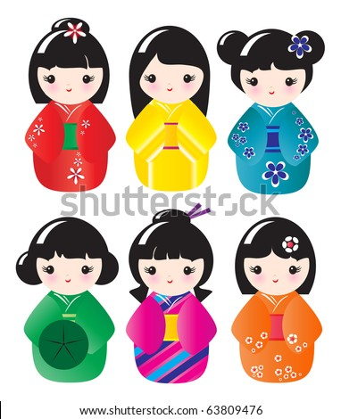 Kokeshi dolls in various designs isolated on white. EPS10 vector format - stock vector