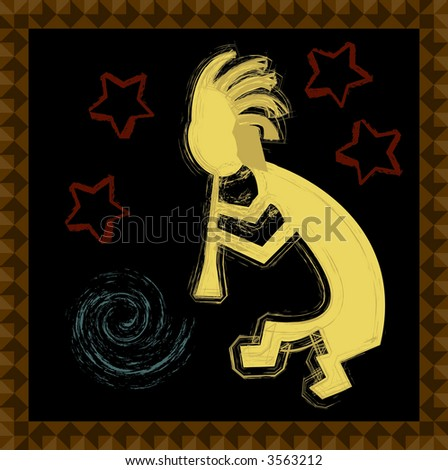 Kokopeli, the mythical flute player is featured on this vector format square tile. - stock vector