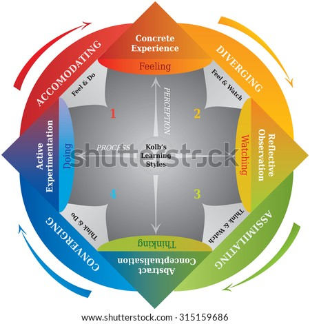 Kolb's Learning Styles Diagram, Life Coaching and Education Tool - stock vector