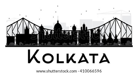 Kolkata City skyline black and white silhouette. Vector illustration. Simple flat concept for tourism presentation, banner, placard or web site. Business travel concept. Cityscape with landmarks - stock vector