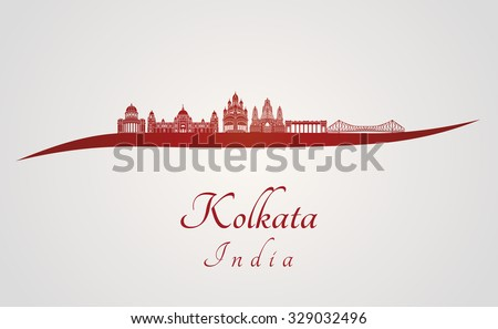 Kolkata skyline in red and gray background in editable vector file - stock vector