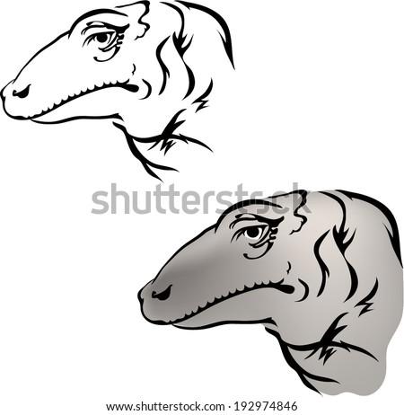 Komodo dragon tattoo.vector - stock vector