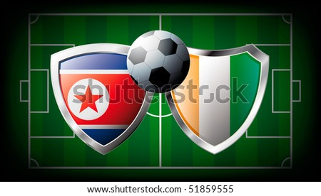 Korea DPR versus Cote d I voire abstract vector illustration isolated on white background. Soccer match in South Africa 2010. Shiny football shield of flag Korea DPR versus Cote d I voire - stock vector