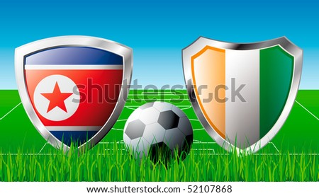 Korea DPR versus Cote d'Ivoire abstract vector illustration isolated on white background. Shiny football shield of flag Korea DPR versus Cote d'Ivoire - stock vector