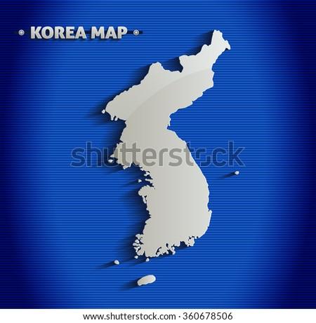 Korea map blue line 3D vector - stock vector