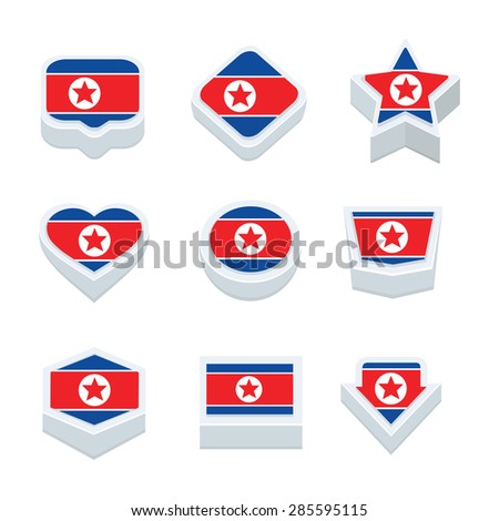 Korea North Flags Icons Button Set Stock Vector - north flags