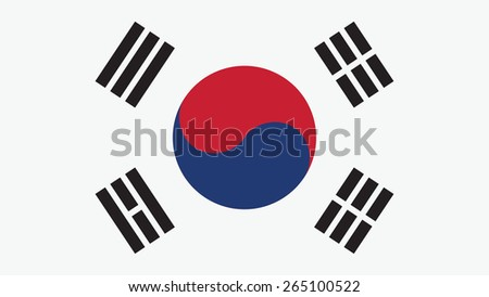 Korea South Flag for Independence Day and infographic Vector illustration. - stock vector