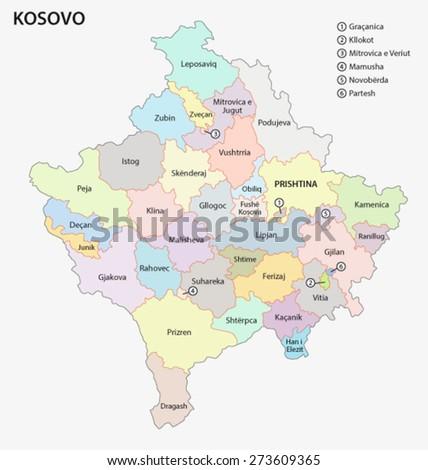 Kosovo Administrative Map Albanian Language Stock Vector 273609365