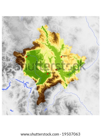 Kosovo. Physical vector map, colored according to elevation, with selected cities. Surrounding territory greyed out. 43 layers, fully editable. Data source: NASA - stock vector