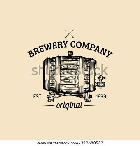 Kraft beer barrel logo. Old brewery icon. Lager, ale retro sign. Hand sketched keg illustration. Vector vintage homebrewing label or badge. - stock vector