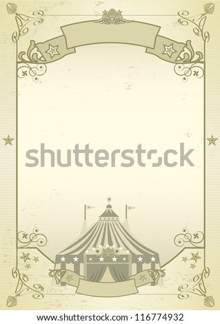 kraft circus. An old grunge circus background for a poster - stock vector