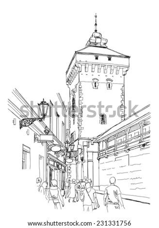 Krakow. Poland. Tower of city wall. Black & white vector sketch  - stock vector
