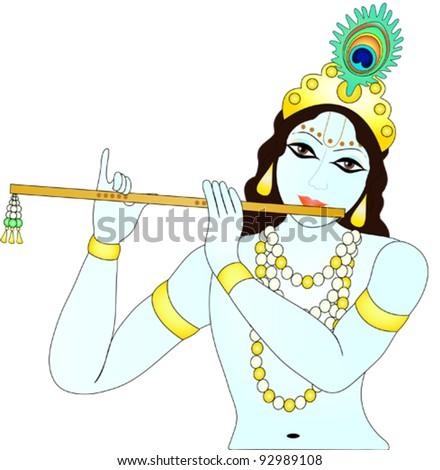 Krishna holding flute ...