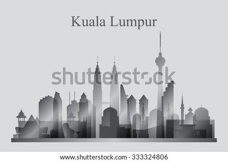 Kuala Lumpur city skyline silhouette in grayscale, vector illustration - stock vector