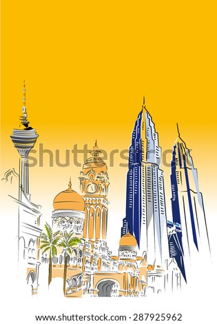 Kuala Lumpur skyline - stock vector