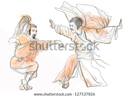Kung Fu, Chinese martial art. /// A hand drawn illustration converted into vector of Chinese martial arts, popularly referred to as kung fu. /// Vector is editable in 7 layers. - stock vector