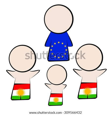 Kurdish refugees want to Europe and want to help. - stock vector