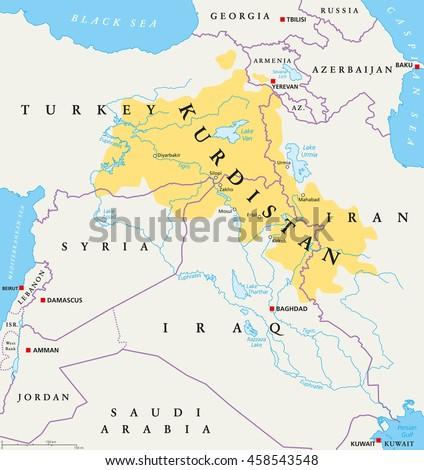 Kurdistan Kurdish Lands Political Map Cultural Stock Vector