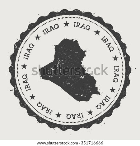 Kurdistan Regional Government. Hipster round rubber stamp with Iraq map. Vintage passport stamp with circular text and stars, vector illustration - stock vector