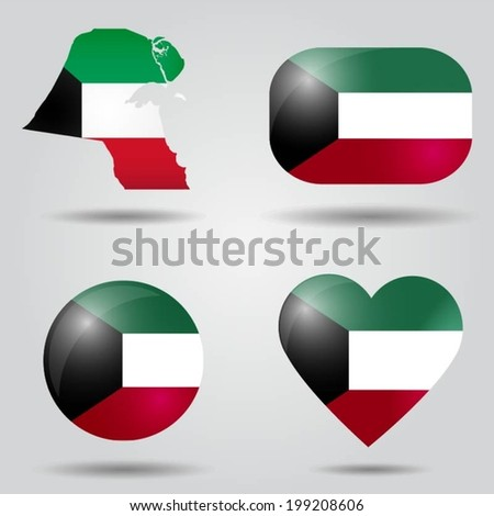 Kuwait flag set in map, oval, circular and heart shape. - stock vector
