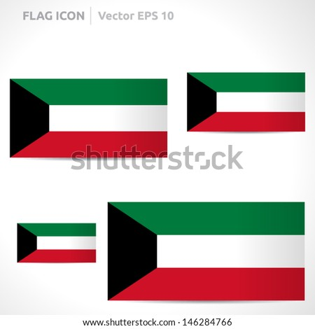 Kuwait flag template | vector symbol design | color red white green and black | icon set