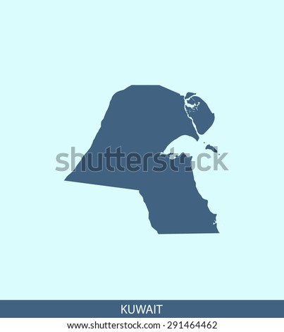 Kuwait map vector, Kuwait map outlines in a contrasted blue background for brochure and web-page templates and science & publication uses - stock vector