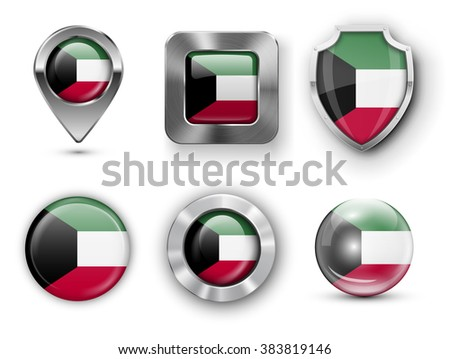 Kuwait Metal and Glass Flag Badges, Buttons, Map marker pin and Shields. Vector illustrations - stock vector