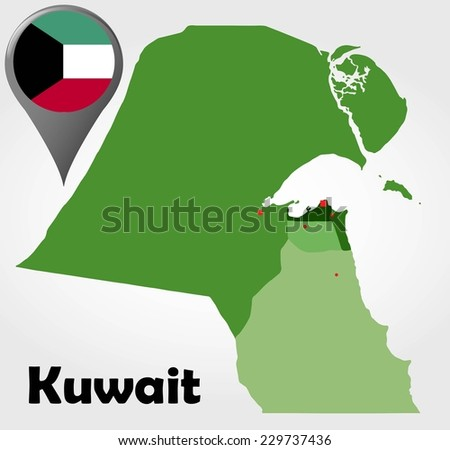 Kuwait Map Vector Kuwait Political Map With
