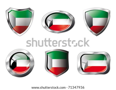 Kuwait set shiny buttons and shields of flag with metal frame - vector illustration. Isolated abstract object against white background.