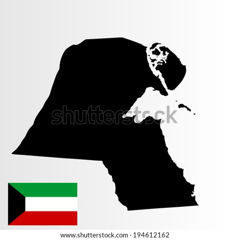 Kuwait vector map and Kuwait vector flag high detailed illustration isolated on white background. - stock vector