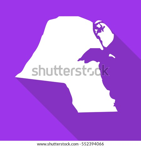 Kuwait white map,border flat simple style with long shadow on purple background