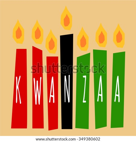 kwanzaa candles lightning on the beige background with letters Kwanzaa on them - stock vector