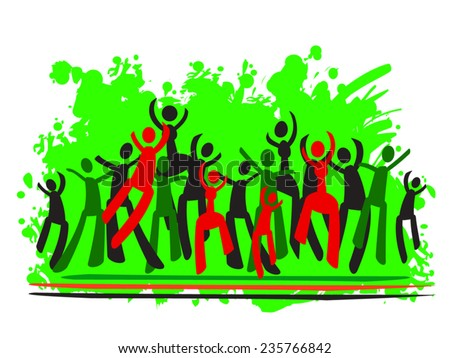 Kwanzaa vector illustration. Green, red, black people silhouettes. Happy people jumping. Community concept. Bright green paint with splash of color as background. Eps 10. Isolated on white. - stock vector