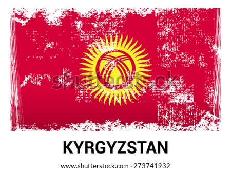 Kyrgyzstan grunge flag isolated vector in official colors and Proportion Correctly. country's name label in bottom